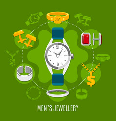 Mens jewelry round composition vector