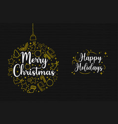 merry christmas gold holiday icon decoration card vector image