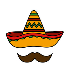 Mexican hat mariachi with mustache vector