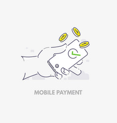 mobile payments hand holding phone vector image