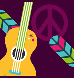 Musical guitar feathers peace and love sign hippie vector