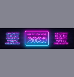 neon gradient sign happy new year 2020 on a dark vector image