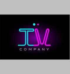 neon lights alphabet tv t v letter logo icon vector image
