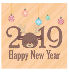 new years greeting with cute reindeer vector image