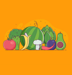 organic concept with vegetables and fruits vector image