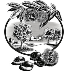 Oval frame with curly chestnut and landscape vector