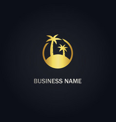 palm tree gold logo vector image