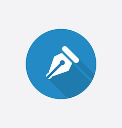 Pen Flat Blue Simple Icon with long shadow vector