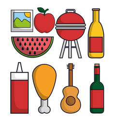 Picnic related icons vector