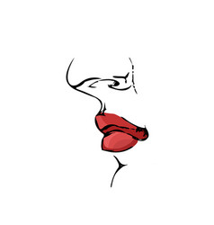 red lips in profile for fashion vector image