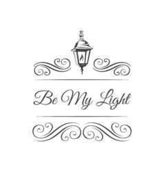 Retro Street Lamp Badge Ornament Decoration Swirls vector image