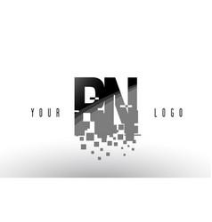 rn r n pixel letter logo with digital shattered vector image