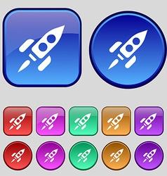 Rocket icon sign A set of twelve vintage buttons vector