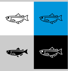 Salmon fish icon line style symbol of salmon vector