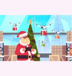 santa claus holding remove controller drone vector image