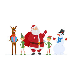 Santa with elves reindeer snowman - cartoon vector