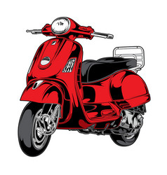 scooter new red motorcycle vector image