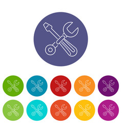 screwdriver and wrench icons set color vector image