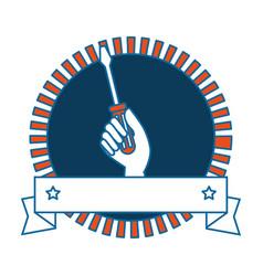Screwdriver labour day celebration emblem vector