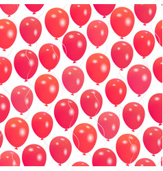 seamless pattern with red helium balloons happy vector image