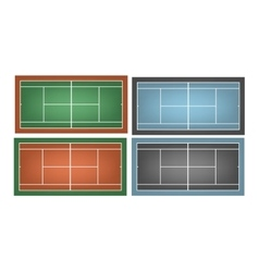 Set of combinated tennis courts vector