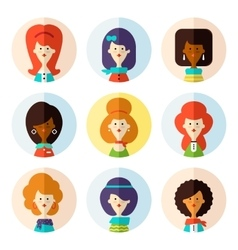 Set of flat female avatar icons for social media vector image