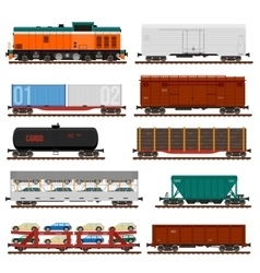 Set of Train Cargo Wagons Tanks Cars vector