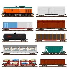 set train cargo wagons tanks cars vector image