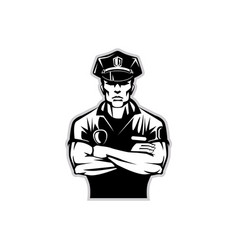 Silhouette of a policeman in uniform wearing vector