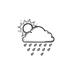 sun with raincloud hand drawn outline doodle icon vector image