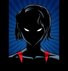 superheroine portrait ray light silhouette vector image