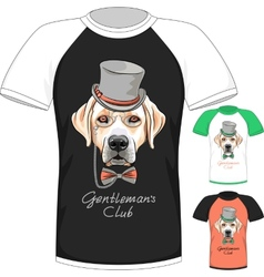 T-shirt with Labrador Retriever gentleman dog vector image
