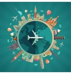 Travel around world flat design vector
