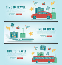Travel banners summer holidays travel and vector