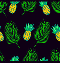 tropical leaf palm and ananas seamless pattern vector image