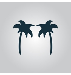 Two Black palm trees silhouette isolated vector