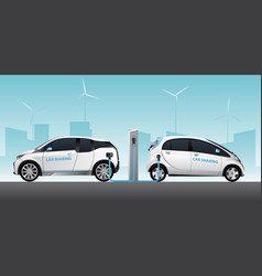 two carsharing electric cars vector image