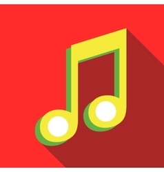 Two music notes icon in flat style vector image