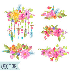 Watercolor beautiful floral design vector