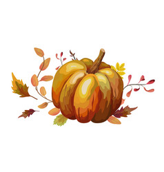 watercolor design autumn leaf pumpkin vector image