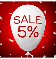 White Baloon with text Sale 5 percent Discounts vector image