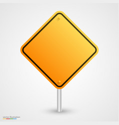 Yellow empty road sign vector