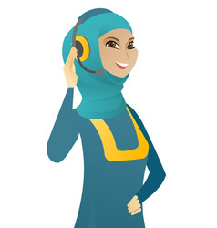 young muslim customer service operator in headset vector image
