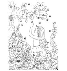 Zen Tangle woman girl and vector