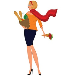 Cartoon woman in red scarf with shopping bag and vector