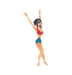 flat cute girl dancing at beach party vector image