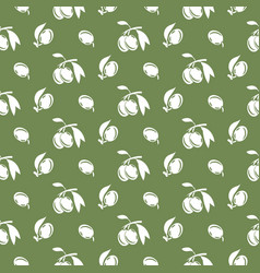 olive plant silhouette green pattern vector image vector image