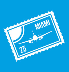 stamp with plane and text miami inside icon white vector image