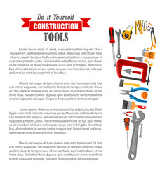 hand saw with work tool poster for diy design vector image vector image