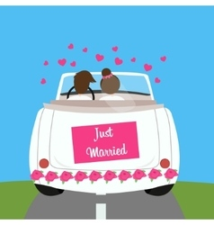just married wedding car couple honeymoon marriage vector image vector image